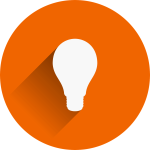 ampoule blanche dans cercle orange